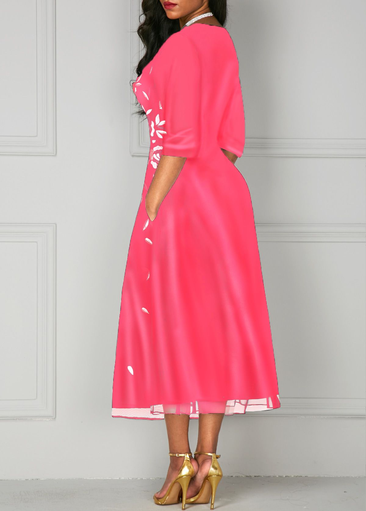 cc751aa6da3 Deep V Neck Pocket Flower Print Dress