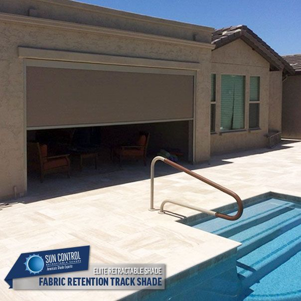 Motorized Fabric Retention Track System Exterior Retractable Patio Shades