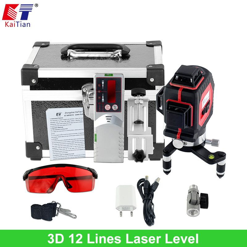 Kaitian 3d Laser Levels Outdoor 650nm 12 Lines Cross Level With Slash Function And Self Leveling 360 Rotary Red Laser Beam Tools Aff Laser Levels Beams Rotary