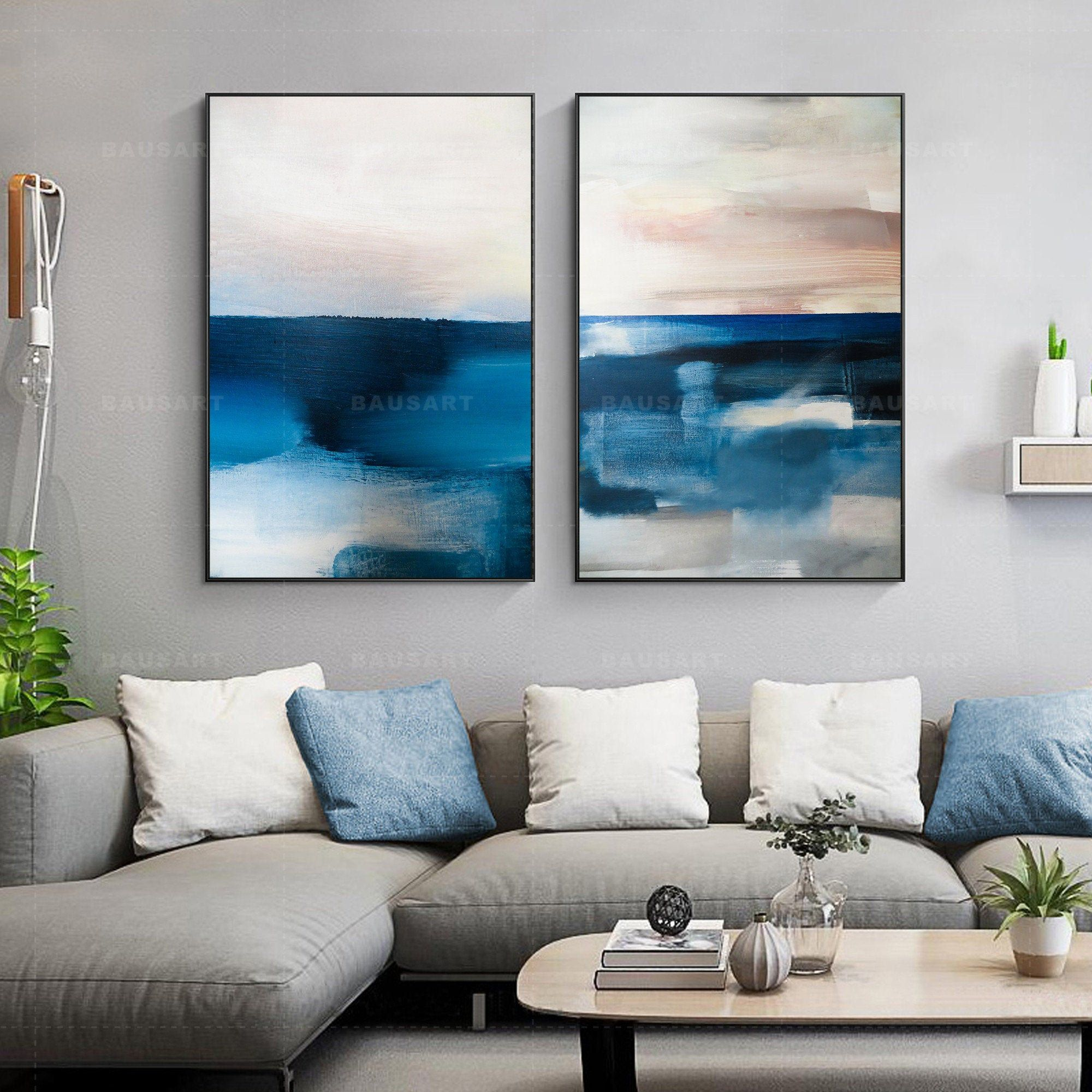 Framed Wall Art Set Of 2 Prints Abstract Blue Print Painting On Canvas Large Landscape Wall Art Frame Pr Framed Wall Art Sets Frames On Wall Landscape Wall Art
