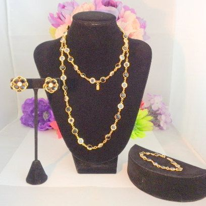"20% off! Swarovski 3 piece Set Black & Clear Jewelry Set 34"" Necklace , Matching Clip On Earrings 3/4"" and a 7"" Matching Swan Tag Bracelet. This is a gorgeous Stunning vintage Swarovski Jewelry Set with 3 pieces that are perfect - Black and Clear Swarovski Crystals. Come now to www.CCCsVintageJewelry.com Have a great vintage day or night! Best, Coco"