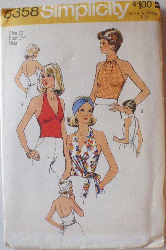 77ecde1be9f Women s 70 s Sewing Pattern Backless Halter Tops by Shelleyville ...
