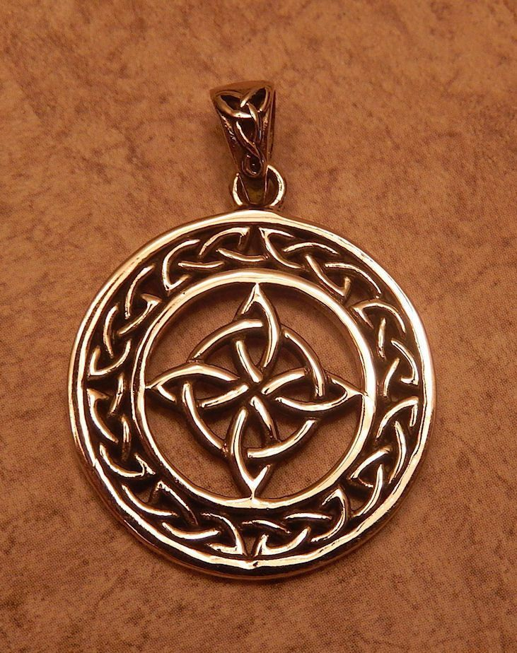 Celtic witches knot pendant gold tone bronze encircled quaternary 4 celtic witches knot pendant gold tone bronze encircled quaternary 4 point knot aloadofball Image collections