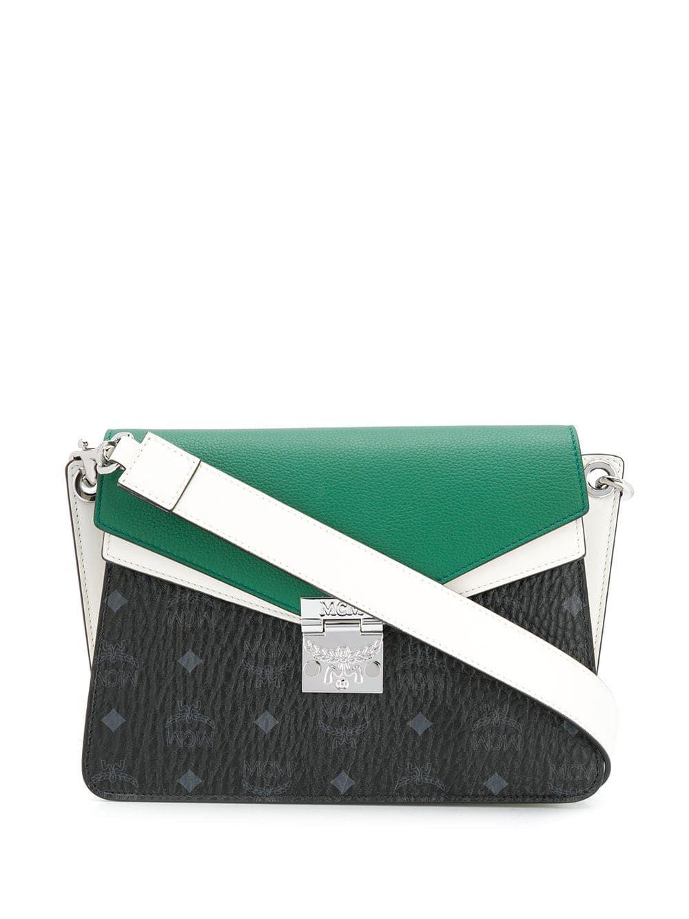 Mcm colour block shoulder bag green | Shoulder bag, Bags