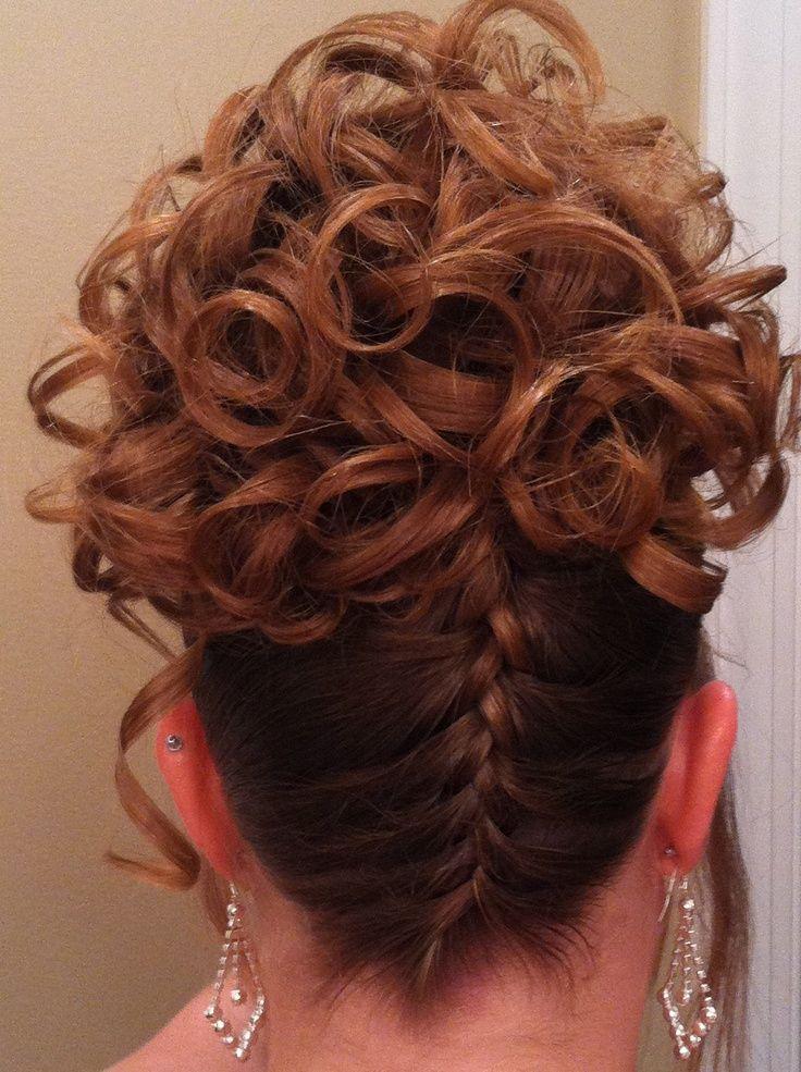 upside french braid curls