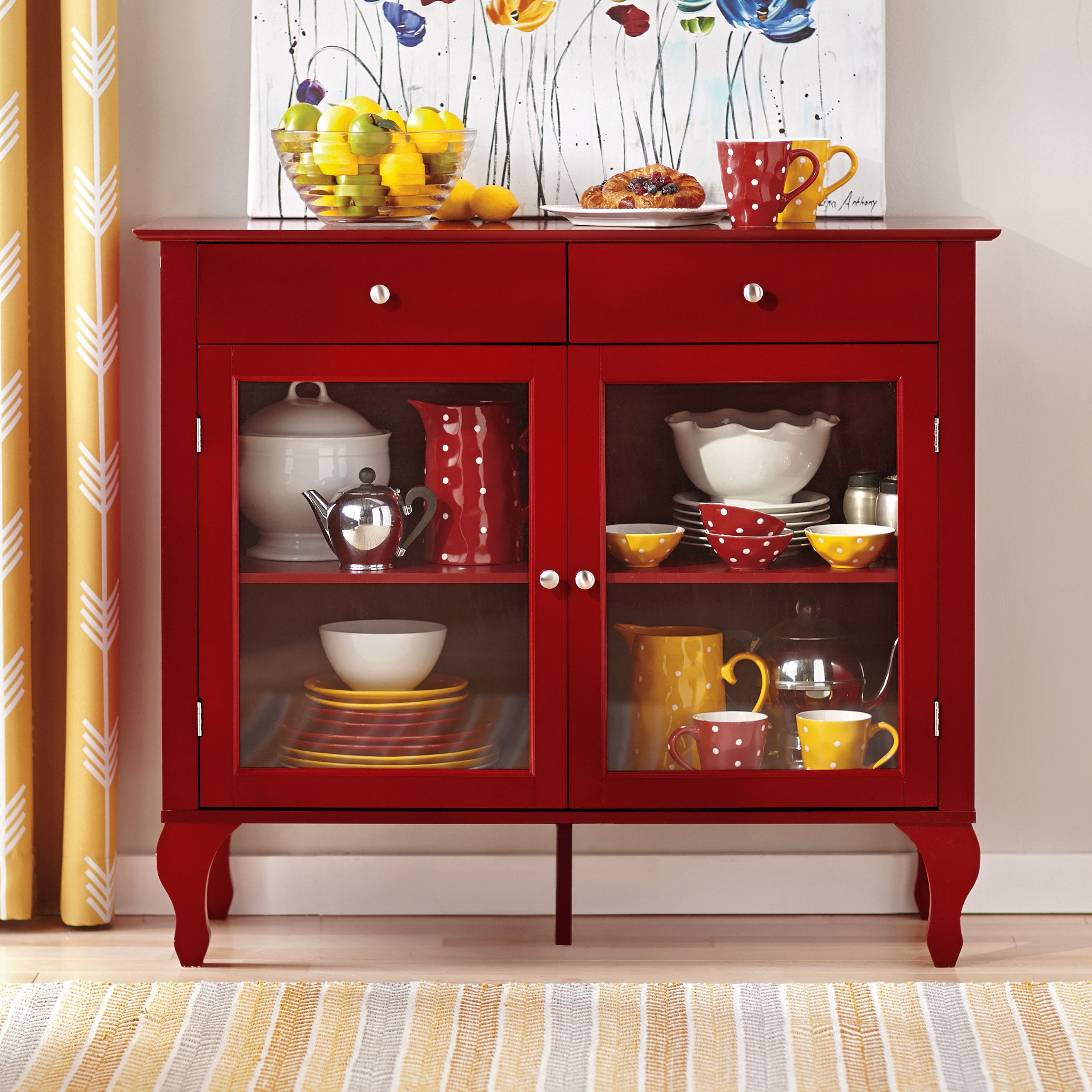 Charlton Home Wade Buffet In Red Furniture Cabinet Adjustable Shelving