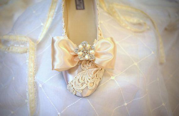 Ivory Wedding Flats  The Iridessa by TheCrystalSlipper on Etsy, $155.00