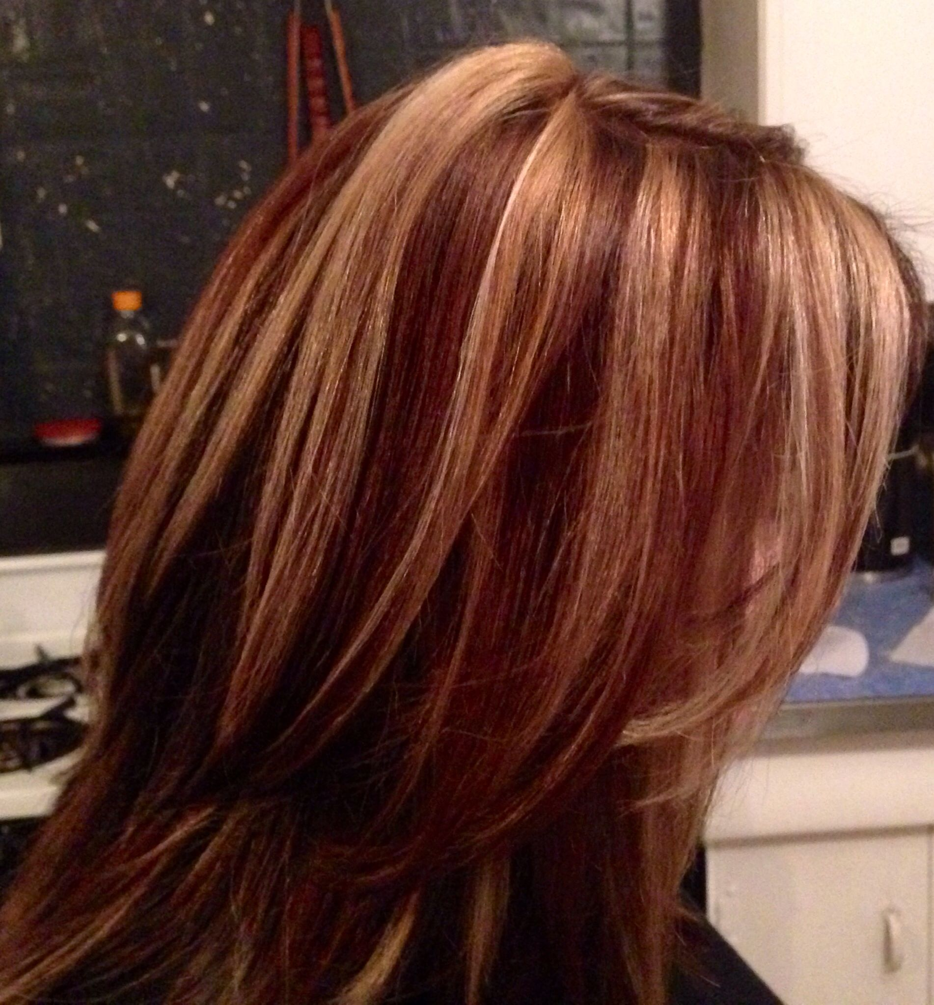 Pin By Carla Aldrich On My Work Dark Hair With Highlights Low Lights Hair Strawberry Blonde Hair