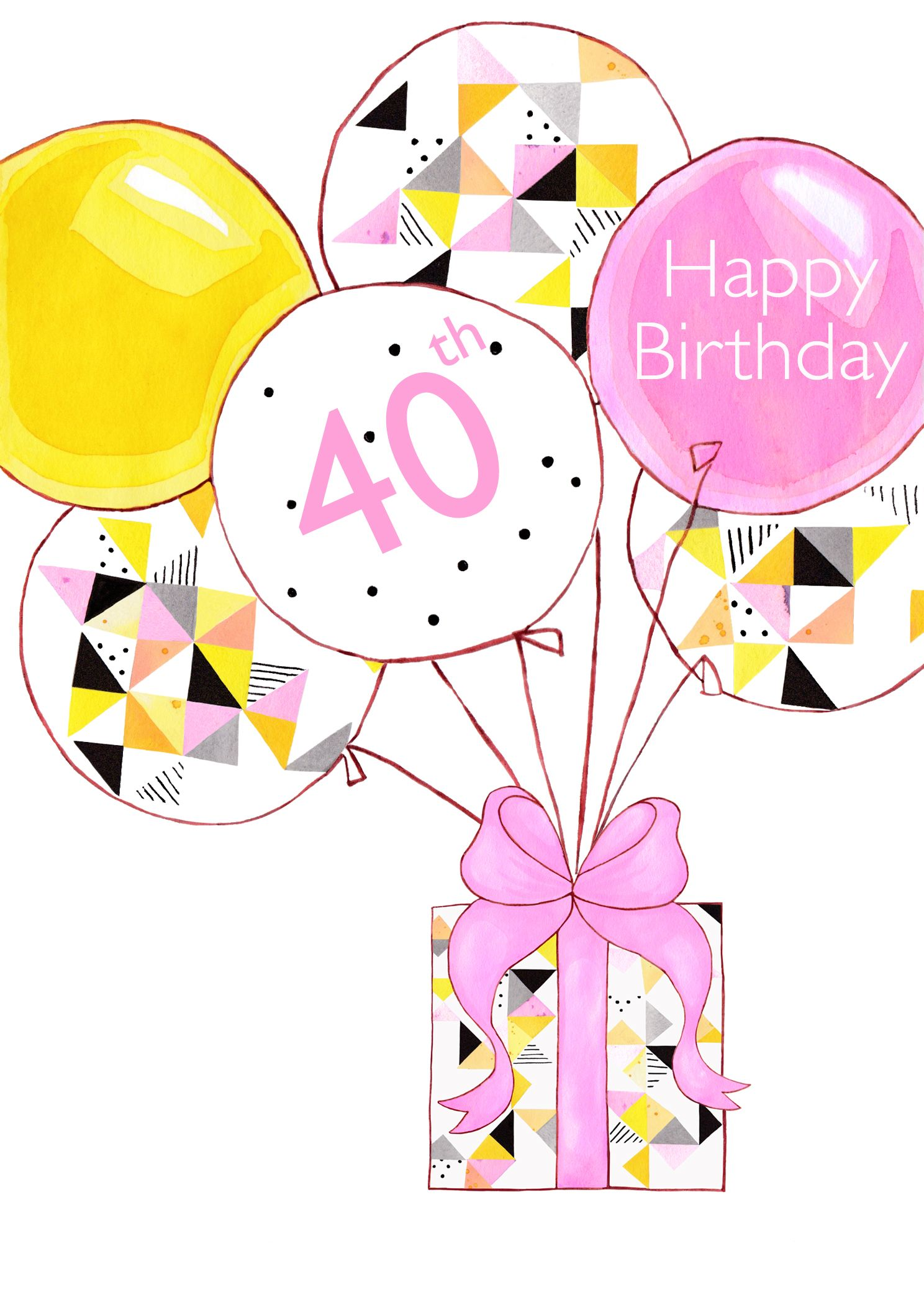 40th Birthday Card Present Balloons 250 Contemporary Geometric Design Blank By Between Sisters Studio