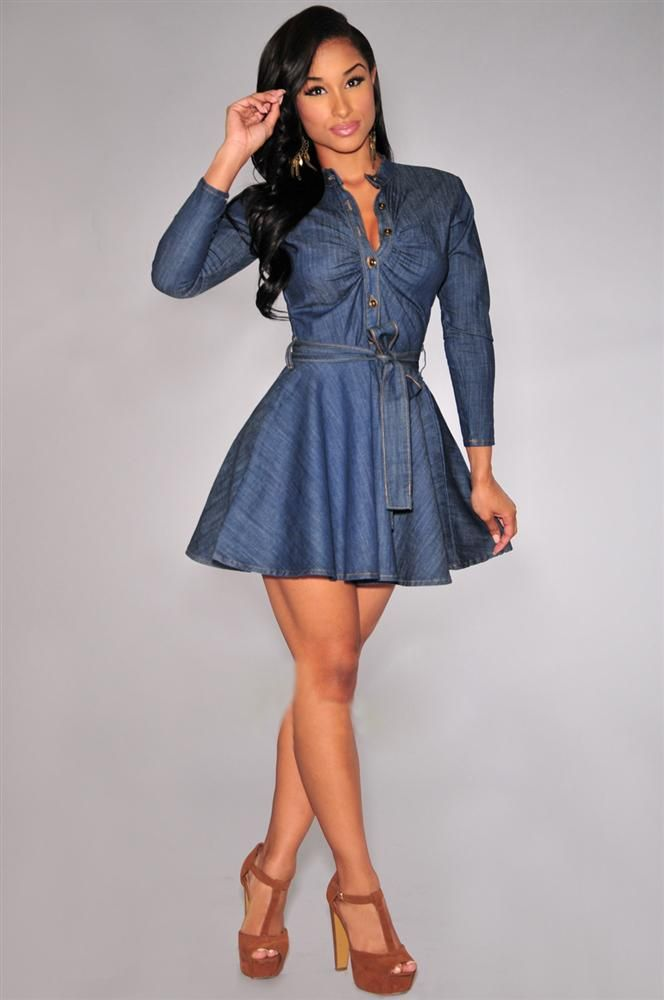 8fb87ef5534ed Denim Pleated Button Design Belted Casual Dress Blue Jean Dresses