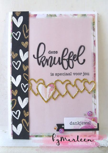 deze KNUFFEL is voor jou #knuffelvoorjou Handmade card by DT member Marleen with Creatables Lots of Love (LR0450) from Marianne Design #knuffelvoorjou