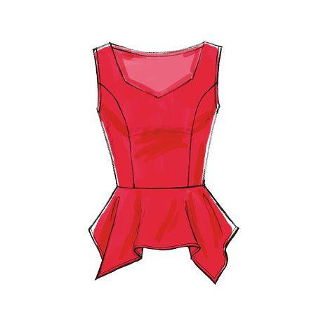 M7126 | Misses'/Miss Petite Peplum Tops Sewing Pat
