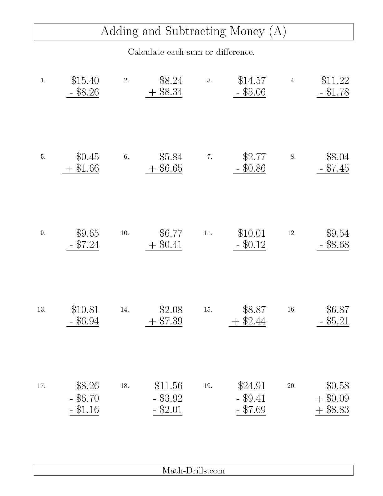 New 08 30 Adding And Subtracting Dollars With Amounts Up To 10 A Math Worksheet