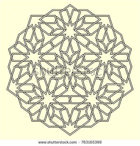 islamic pattern geometric lattice mandala in arabic style oriental ornament mosque decoration element muslim mosaic arabesque coloring book page