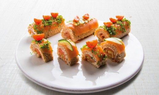 Tortas de salmão fumado