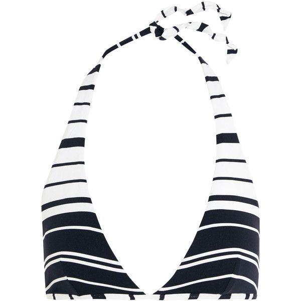 Heidi Klein Como striped halterneck bikini top (€115) ❤ liked on Polyvore featuring swimwear, bikinis, bikini tops, blue, blue necktie, blue bikini, halter neck bikini, neck-tie and striped bikini