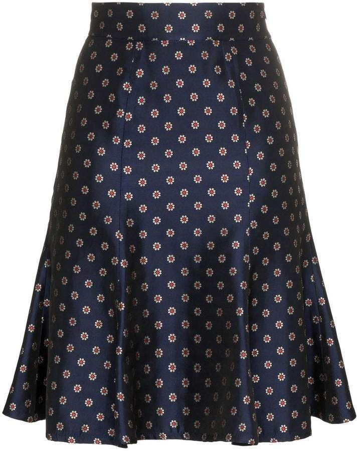 7594352e26 N Duo Flower And Polka Dot Printed high-waisted Skirt en 2019