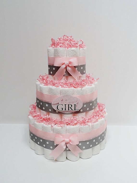 Superior Baby Girl Pink And Gray Diaper Cake Baby Shower Centerpiece On Etsy, $49.99