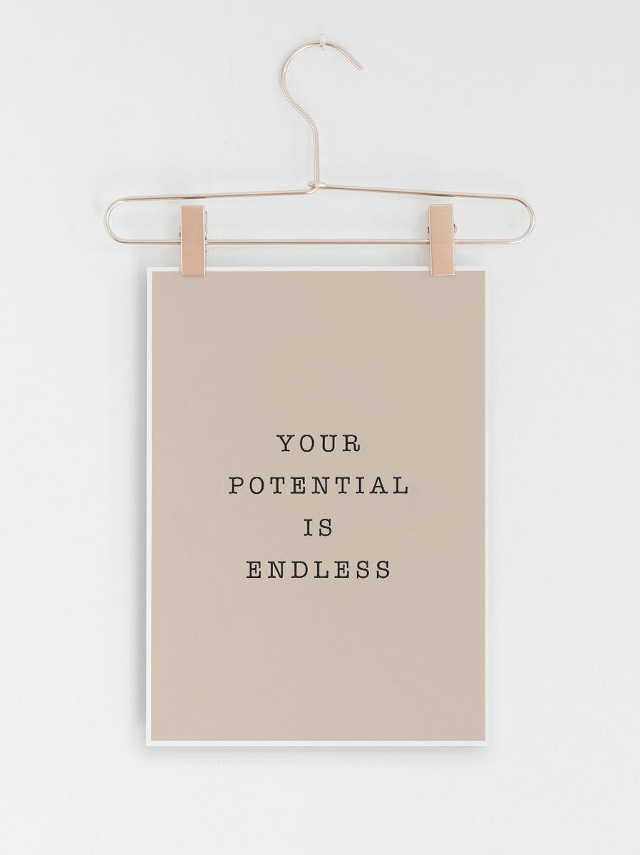 Quote Prints, Inspirational Quote Prints, Prints, Quote Poster, Quote Wall Art, Quote Art, Print, Printable Quote, Your potential is endless