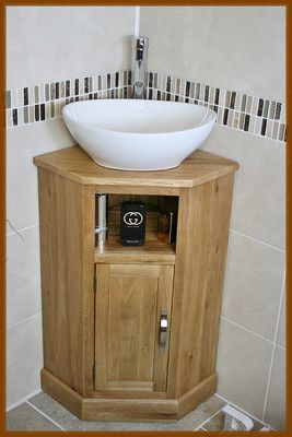 Corner Bathroom Cabinet Small Oak Cloakroom Vanity Unit Basin Bowl Sink Ceramic Small Downstairs Toilet Bathroom Small Bathroom