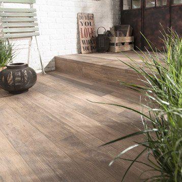 Carrelage sol beige effet bois Way l15 x L90 cm Pergola - pose carrelage terrasse sur dalle beton