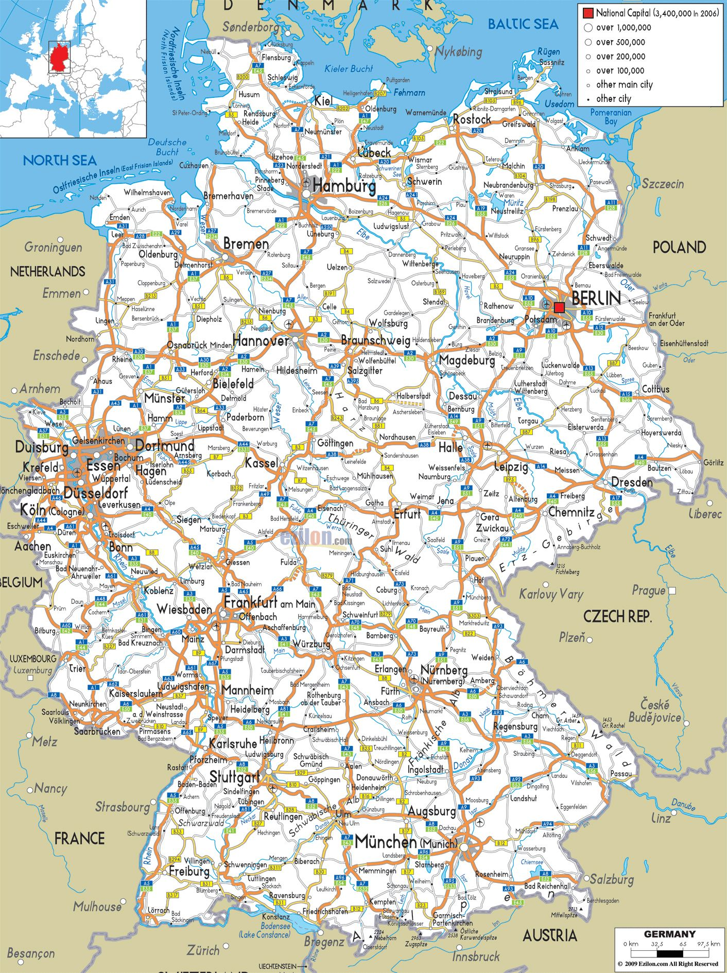 road map of germany with cities
