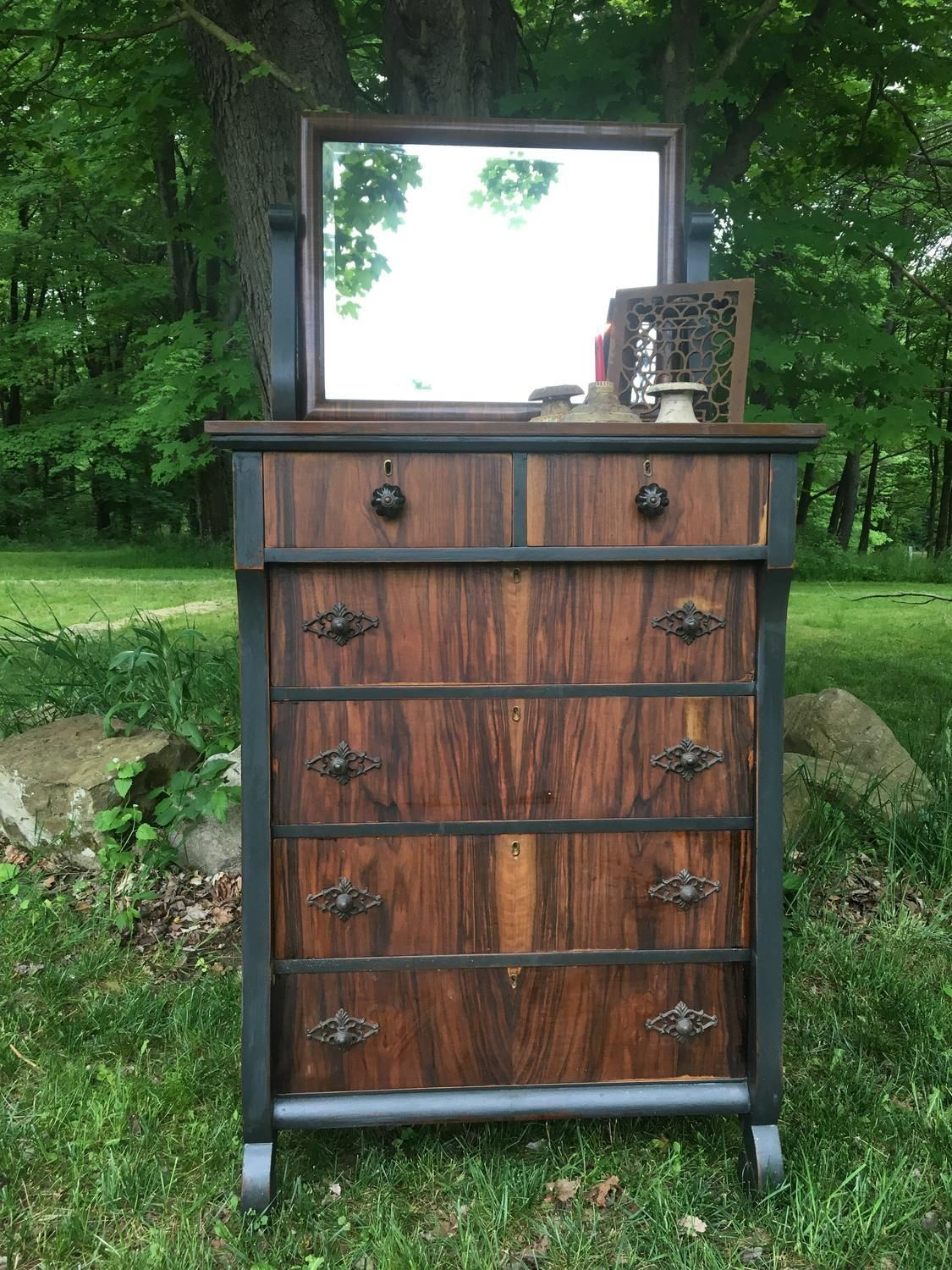 charming antique white wash furniture | For Sale: Antique chest of drawers with mirror - Solid ...