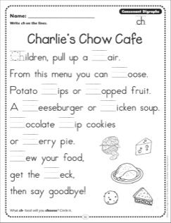 Charlie\'s Chow Cafe (Consonant Digraphs - ch): Phonics Poetry Page ...