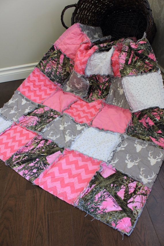 Pink Real Tree Camo Baby Girl Quilt Pink Rustic Nursery Decor Baby