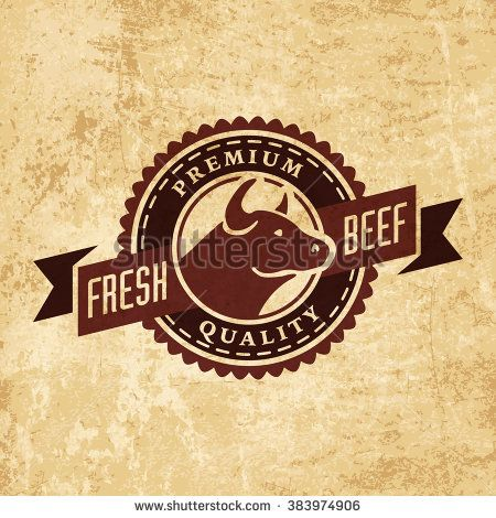 Meat logo | Vector logo template of butchery or meat shop on grunge ...