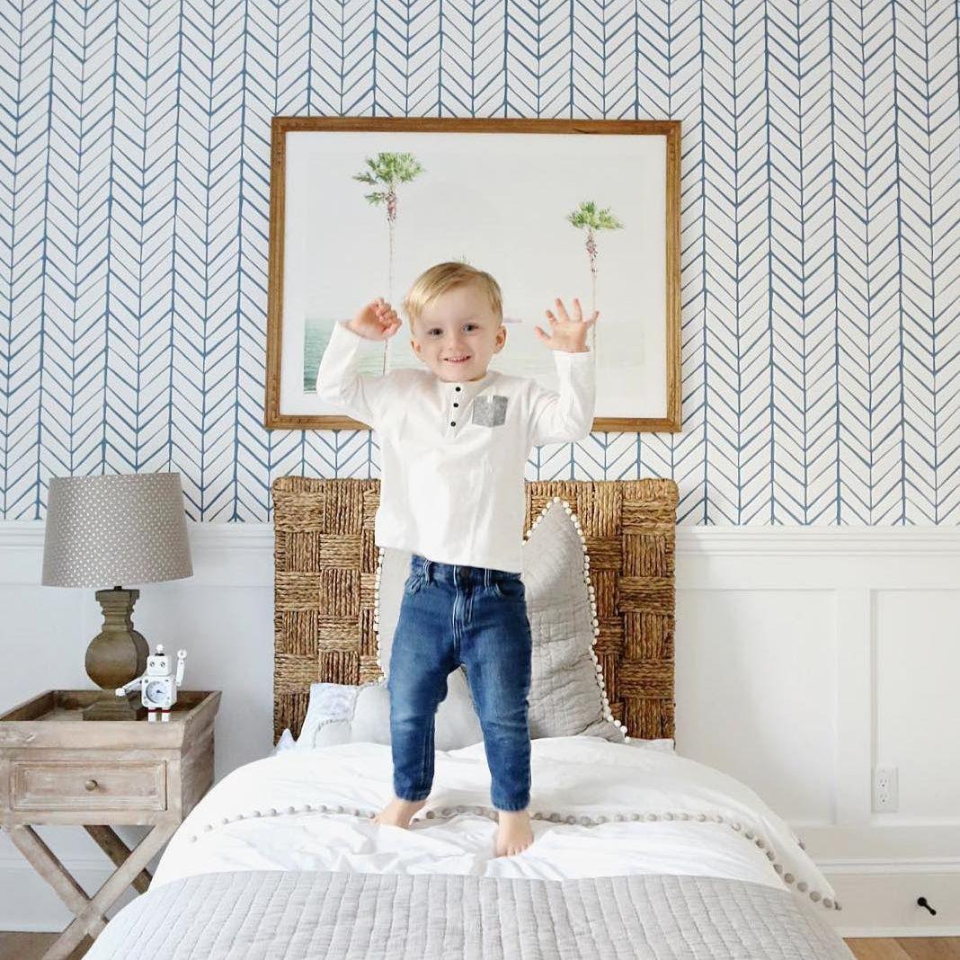 Light Blue Herringbone Wallpaper