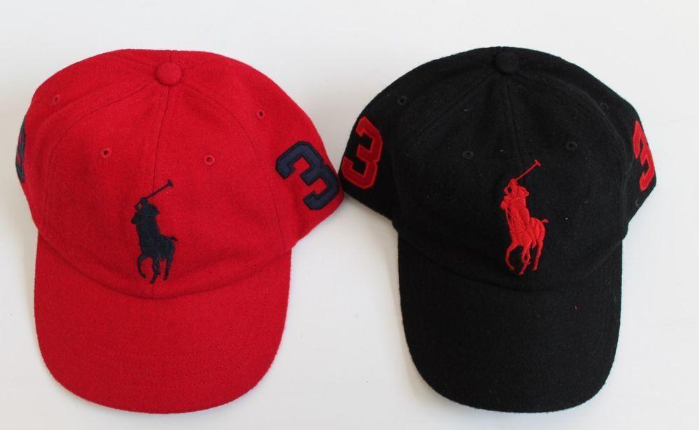 ee21ac0cb0b9a NWT Men s RALPH LAUREN POLO Big Pony Baseball Cap Hat WOOL Flannel RED BLACK