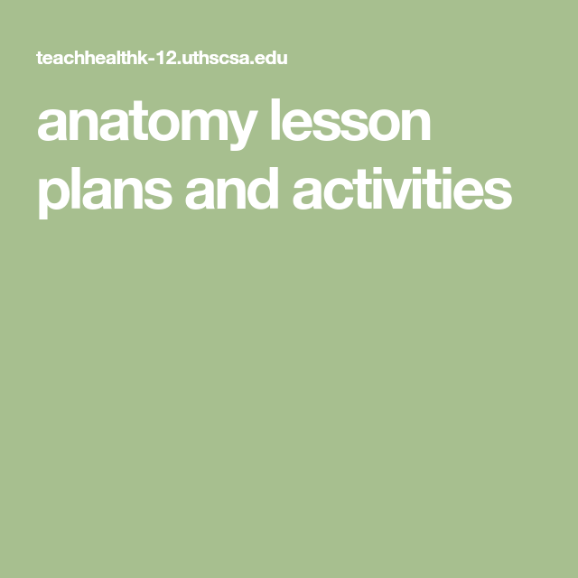 Anatomy Lesson Plans And Activities Anatomy And Animal Cells In