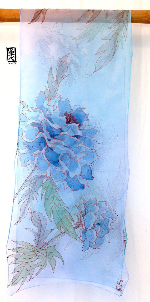 Blue Silk Scarf Hand painted Large Silk Scarf Blue Floral
