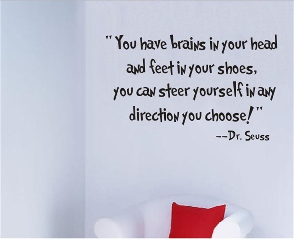 DR SEUSS YOU HAVE BRAINS IN YOUR HEAD WORDS QUOTE WALL ART STICKER HOME DECOR