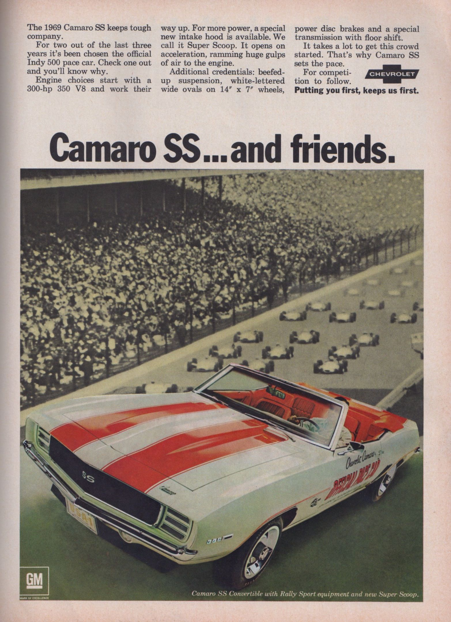 Classic car ad with the all time favorite 1969 camaro convertible indy pace car edition