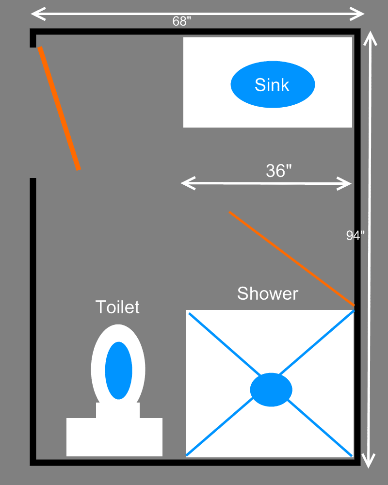 Three Quarters (3/4) Bathroom Plans
