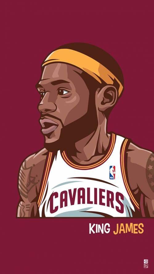 Lebron James with a large head artwork illustration NBA