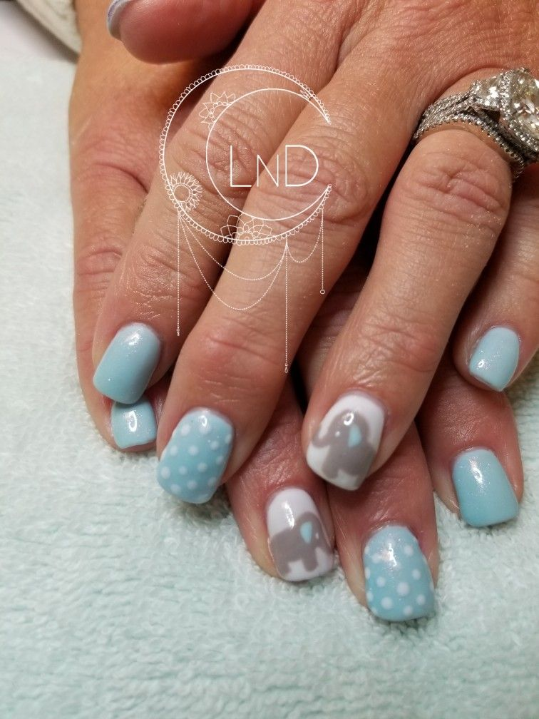 Baby Shower Nail Art It S A Boy Baby Shower Nails Baby Nails Elephant Nails