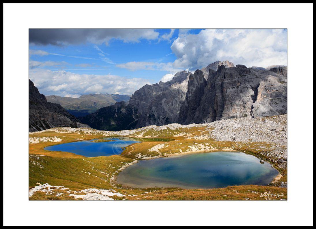 Framed fine art print - Lakes behind Dreizinnenhütte ( near Tre Cime di Lavaredo - Drei Zinnen), Sexten Dolomites, Italy. Photo: Josef Fojtik - www.joseffojtik.com
