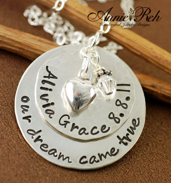 Hand Stamped Custom Heart children/'s name Birthstone Necklace Personalized Gift