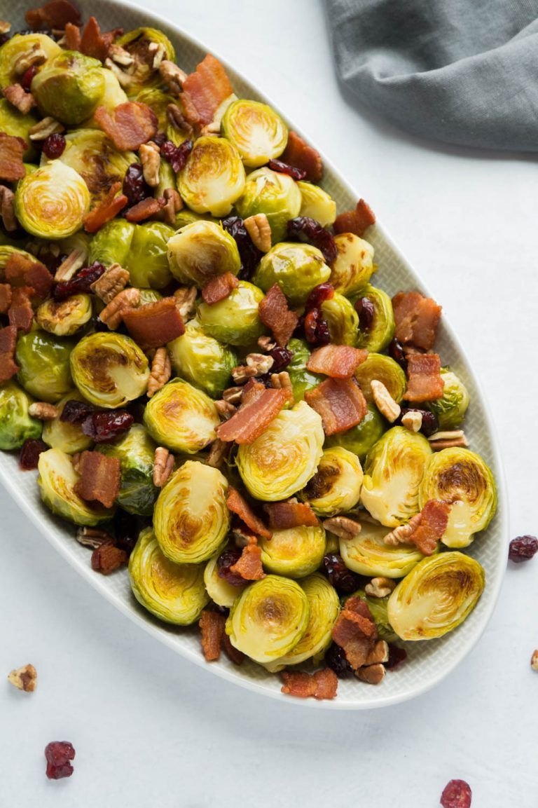 Healthy roasted brussel sprouts with bacon recipe in