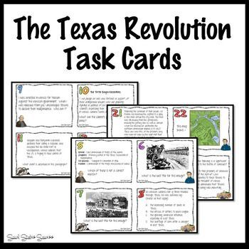 Texas Revolution Task Cards by Social Studies Success