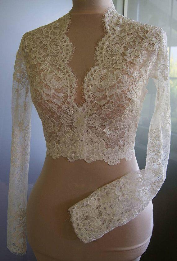 Wedding bolero jacket of lace long sleeve 3 4 sleeve for Black lace jacket for wedding dress