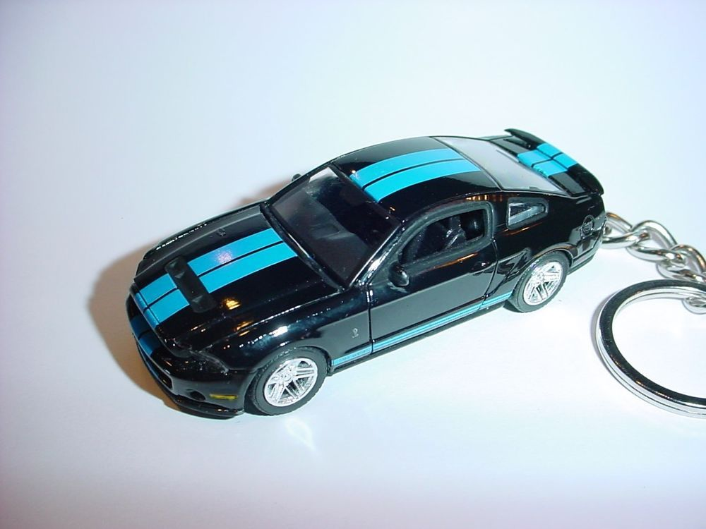 New 3d Black Blue 2010 Ford Mustang Shelby Gt500 Custom Keychain
