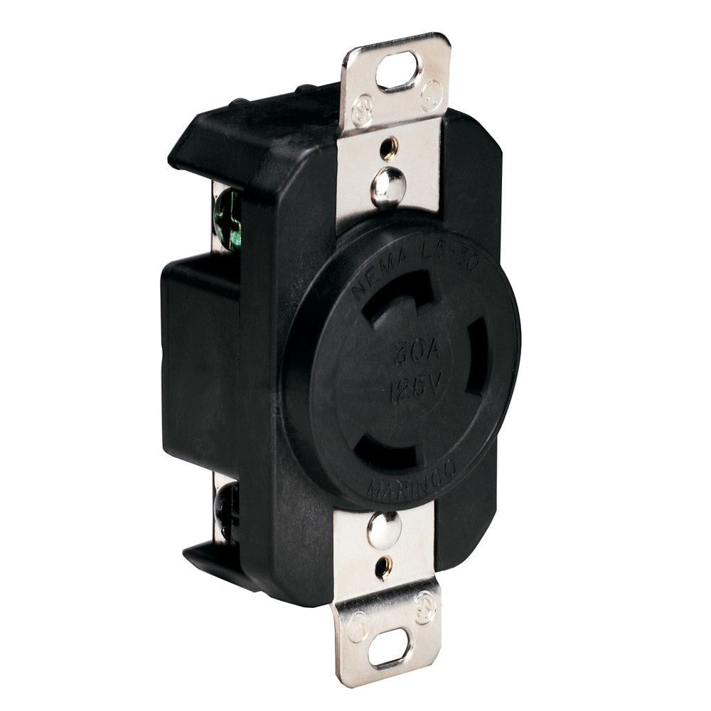 marinco 305crrb 125v 30amp locking receptacle black [ 1000 x 1000 Pixel ]