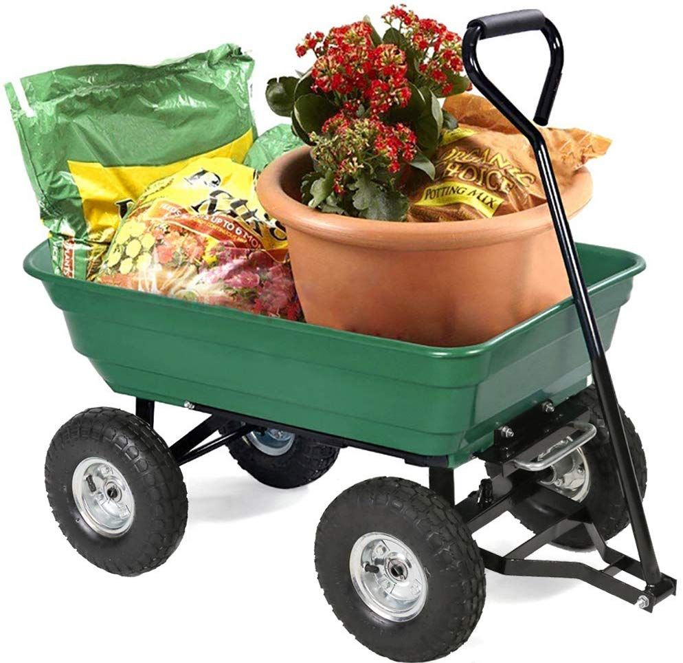 Fdw Garden Utility Yard Dump Cart Carrier Wheelbarrow 4 Air Poly Pulling Wagon 10 Pneumatic Tires Heavy Duty Steel Frame Green Garden Cart Dump Cart Garden Wagon