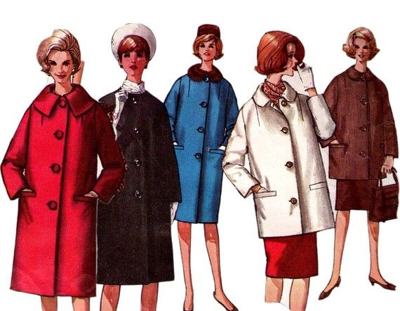1950s Classic coat pattern in 2 lengths Simplicity 5103 Vintage ...
