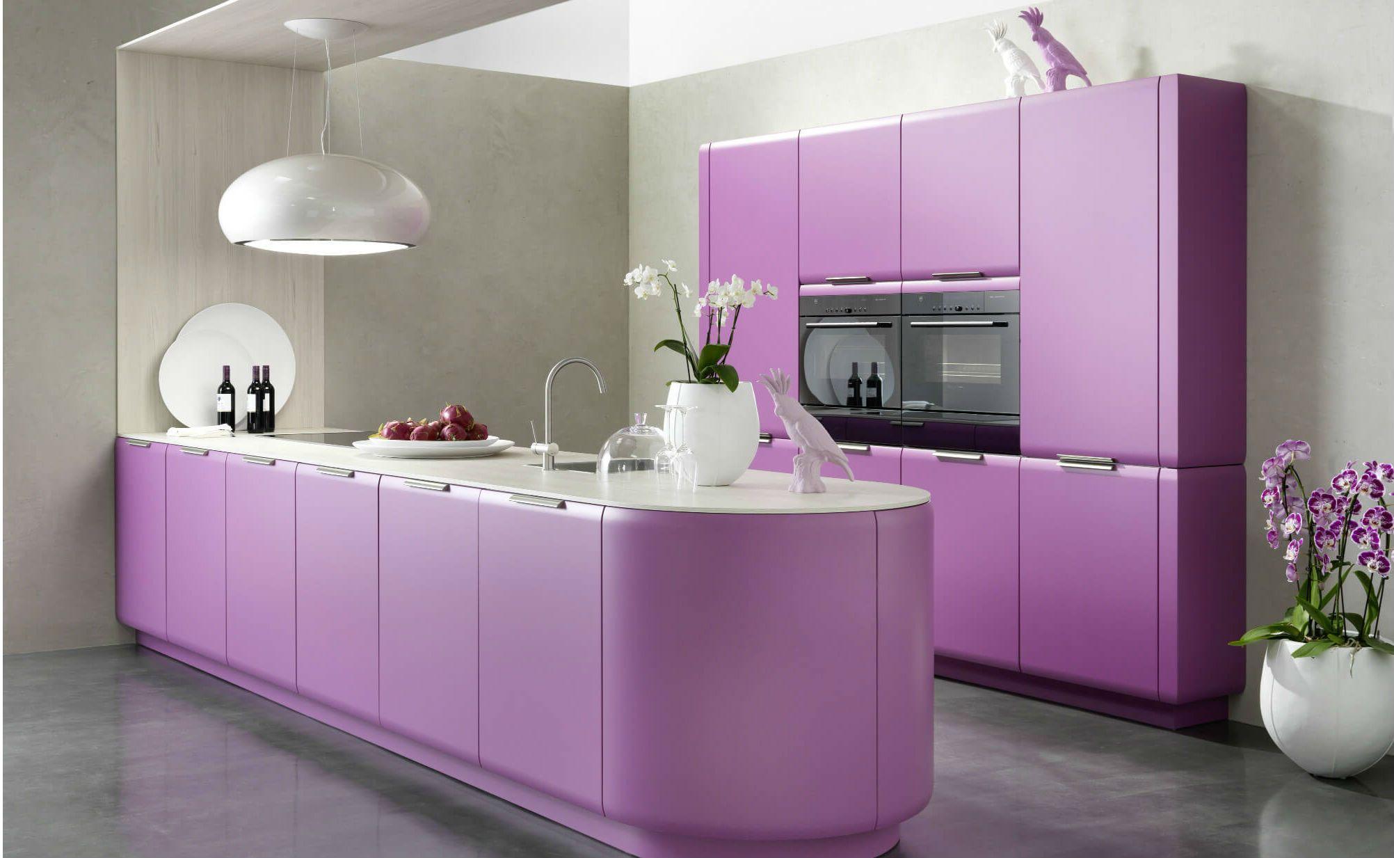 Farbgestaltung der Küche: Bilder und Ideen für farbige Küchen ... | {Küche lila 7}