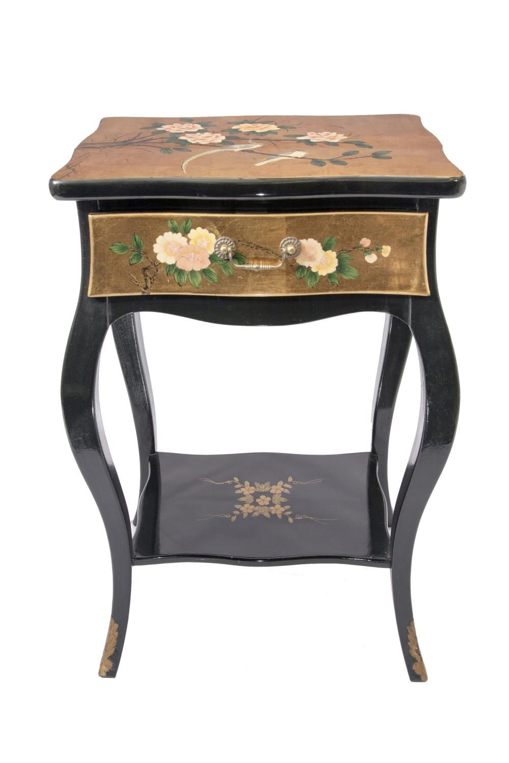 Gold Leaf Side Table Chinoiserie Hand Painted Classic Hallway With A Drawer And Shelf